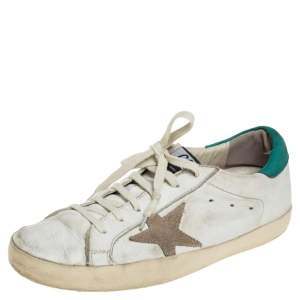 Golden Goose White Leather Lace Up Sneaker Size 40