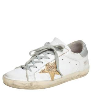 Golden Goose White Leather Superstar  Lace Up Sneakers Size 36
