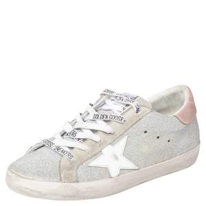 Golden Goose Silver/Grey Glitter Superstar Low Top  Sneakers Size 38