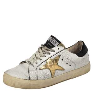 Golden Goose White/Black Leather Superstar Sneakers Size 37