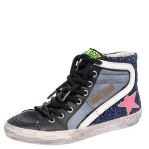 Golden Goose Multicolor Leather And Calf Hair  Fancy High Top Sneakers Size 36