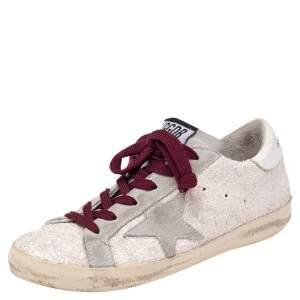 Golden Goose Vanilla/Grey Glitter and Suede Superstar Low Top Sneaker Size 36