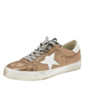Golden Goose Metallic Gold Glitter May Sneakers Size 38