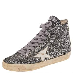 Golden Goose Silver Glitter Fabric And Leather High Top Francy Sneakers Size 38