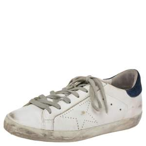 Golden Goose White/Blue Leather Superstar Sneakers Size 39