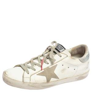 Golden Goose White/Pink Leather Superstar Low Top Sneakers Size 39