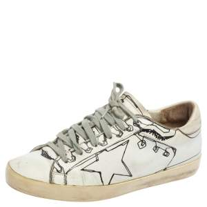 Golden Goose White Graphics Print Superstar Low Top Sneakers Size 38
