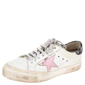 Golden Goose White Leather And Calf Hair Superstar Low-Top Sneakers Size 39