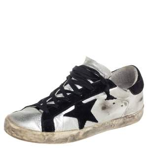 Golden Goose Silver/Black Leather And Suede Superstar Low-Top Sneakers Size 38