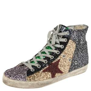 Golden Goose Multicolor Coarse Glitter And Suede High Top Sneakers Size 39