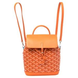 Goyard Orange Goyardine Coated Canvas and Leather Mini Alpin Backpack