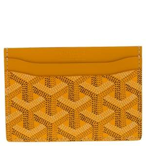 Goyard Yellow Goyardine  Coated Canvas and Leather Saint Sulpice Card Holder