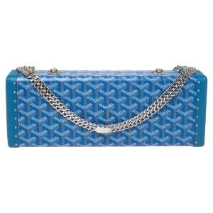 Goyard Goyardine Blue Coated Canvas Saint Honoré Clutch