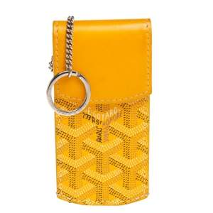 Goyard Mustard Yellow Coated Canvas And Leather Portier GM Key Pouch