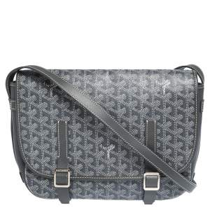 Goyard Grey Chevron Print Coated Canvas Belvedere MM Saddle Bag