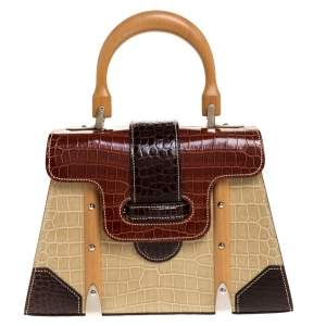 Goyard Tri Color Crocodile Saigon PM Top Handle Bag