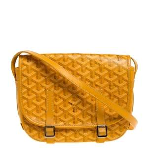 Goyard Yellow Goyardine Print Coated Canvas and Leather Belvedere PM Bag