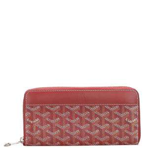 Goyard Red Goyardine Canvas Matignon Wallet