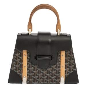 Goyard Black Coated Canvas and Leather PM Saigon Top Handle Bag