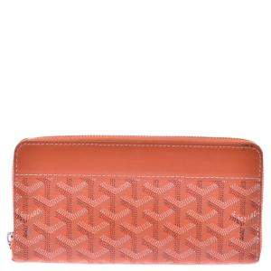 Goyard Orange Goyardine Canvas Matignon Wallet