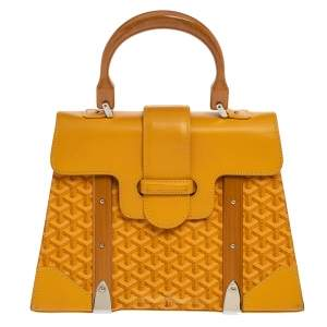 Goyard Yellow Coated Canvas and Leather MM Saigon Top Handle Bag