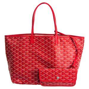 Goyard Red Coated Canvas St. Louis Tote PM Bag