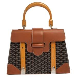 Goyard Brown/Cognac Coated Canvas and Leather Saigon Top Handle Bag