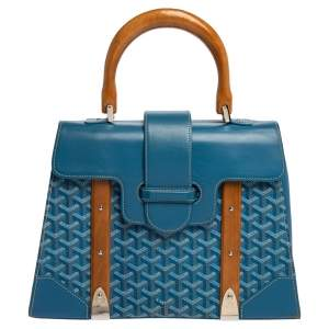 Goyard Blue Goyardine Coated Canvas and Leather Saigon Top Handle Bag