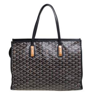 Goyard Black Goyardine Coated Canvas and Leather Marquises Tote