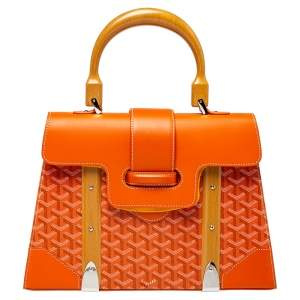 Goyard Orange Goyardine Coated Canvas and Leather Saigon MM Top Handle Bag