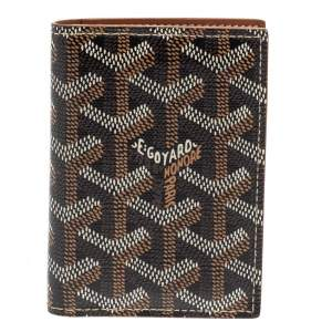 Goyard Brown Goyardine Business Card Holder