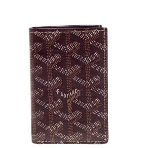 Goyard Burgundy Goyardine Coated Canvas Saint Pierre Bifold Card Holder
