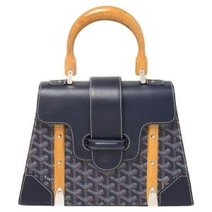 Goyard Navy Blue Goyardine Coated Canvas and Leather PM Saigon Top Handle Bag