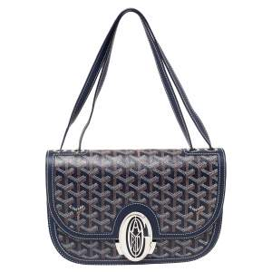 Goyard Blue Goyardine Coated Canvas 223 PM Shoulder Bag