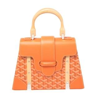 Goyard Orange Coated Canvas and Leather Saigon PM Top Handle Bag