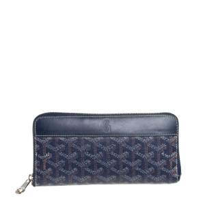 Goyard Blue Goyardline Coated Canvas  and Leather Matignon Zip Around Wallet