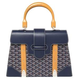 Goyard Navy Blue Goyardine Coated Canvas and Leather Saigon MM Top Handle Bag