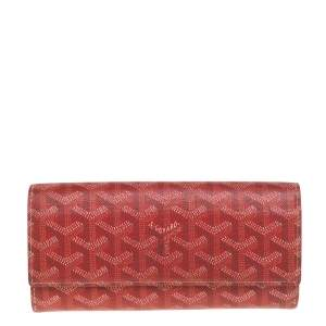 Goyard Red Goyardine Coated Canvas Varenne Continental Wallet