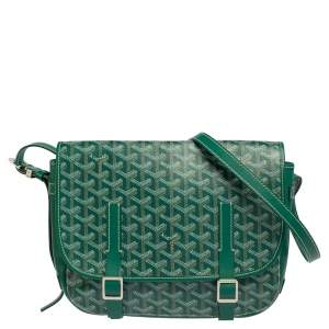 Goyard Green Goyardine Coated Canvas and Leather Belvedere MM Saddle Bag