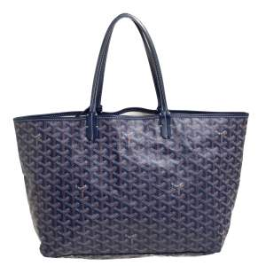 Goyard Blue Goyardine Coated Canvas St. Louis PM Tote