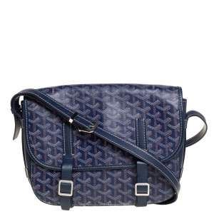 Goyard Blue Goyardine Coated Canvas and Leather Belvedere Saddle Bag