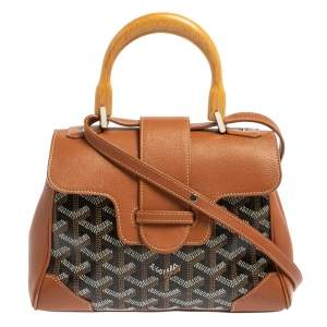 Goyard Brown Goyardine Canvas and Leather Mini Saigon Top Handle Bag