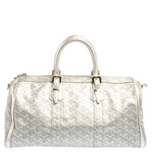 Goyard Silver Goyardine Coated Canvas and Leather Croisiere 40 Duffel Bag