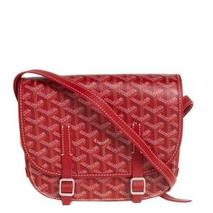 Goyard Red Goyardine Coated Canvas and Leather Belvedere PM Bag