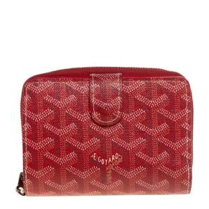 Goyard Red Goyardine Coated Canvas Tuileries Zip Compact Wallet