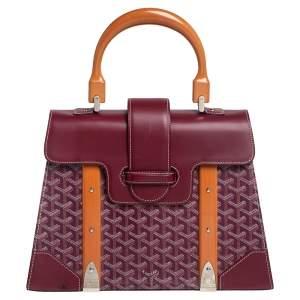 Goyard Burgundy Goyardine Coated Canvas and Leather Saigon MM Top Handle Bag