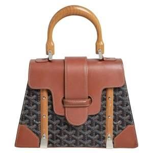 Goyard Brown Goyardine Coated Canvas and Leather Saigon PM Top Handle Bag