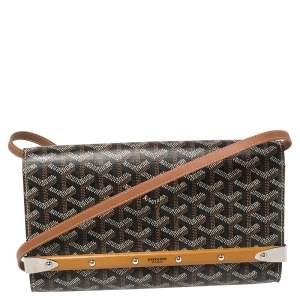 Goyard Brown Goyardine Coated Canvas and Leather Monte Carlo Bois Shoulder Bag