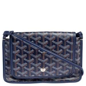 Goyard Blue Goyardine Coated Canvas Plumet Crossbody Bag