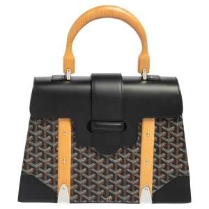 Goyard Black Goyardine Coated Canvas and Leather Saigon MM Top Handle Bag